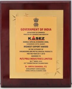 Highest Export Award for Praj Kandla Unit on KASEZ Foundation Day